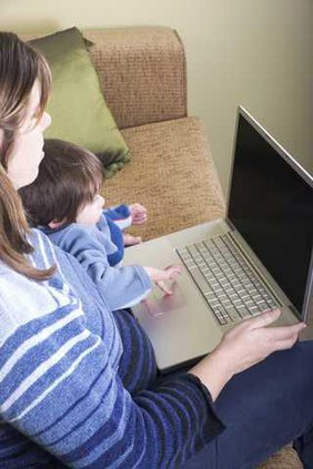 Mom and Child at Laptop